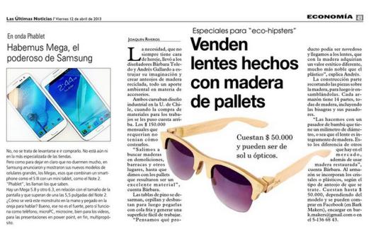 """Publicación de presa, Periódico """"Las Últimas Noticias"""" Santiago, Chile."""